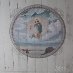 Teto da Capela é obra do artista Villaronga. Foto de Simone Botelho