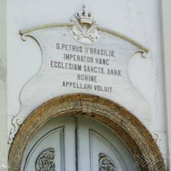 Inscrição sobre a inauguração da pedra fundamental da Catedral, que contou com a presença de Dom Pedro II.