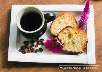 Cafe com bolo: servido na Fazenda Alliança Agroecológica
